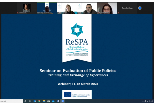 Evaluation of Public Policies,a seminar devoted to the evaluation sequence of the policy development ...